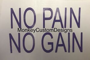 Motivation No Pain No Gain Quote Wall Sticker Fitness Gym Workout