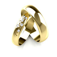Yellow Gold Diamond Set Band His and Hers set of Wedding Rings 4 and 5mm widths