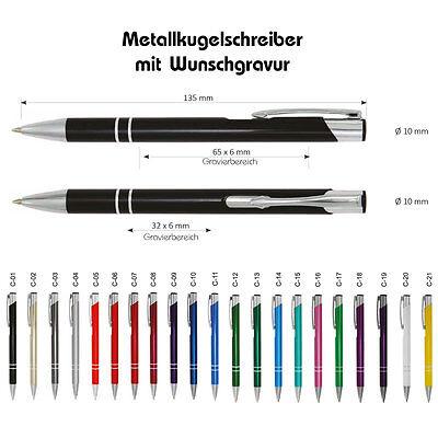 Kugelschreiber Metallkugelschreiber Mit Gravur ... Graviert - 21 Farben Zur Wahl