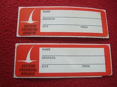 Airline Baggage Labels X 2 Eastern Provincial Airways 1980's / 90's Vintage Moderate Cost