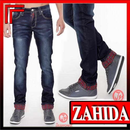Herren Jeans Jeanshose Jeansstyle Blau Karo Denim-Style Clubwear Kariert Men NEU