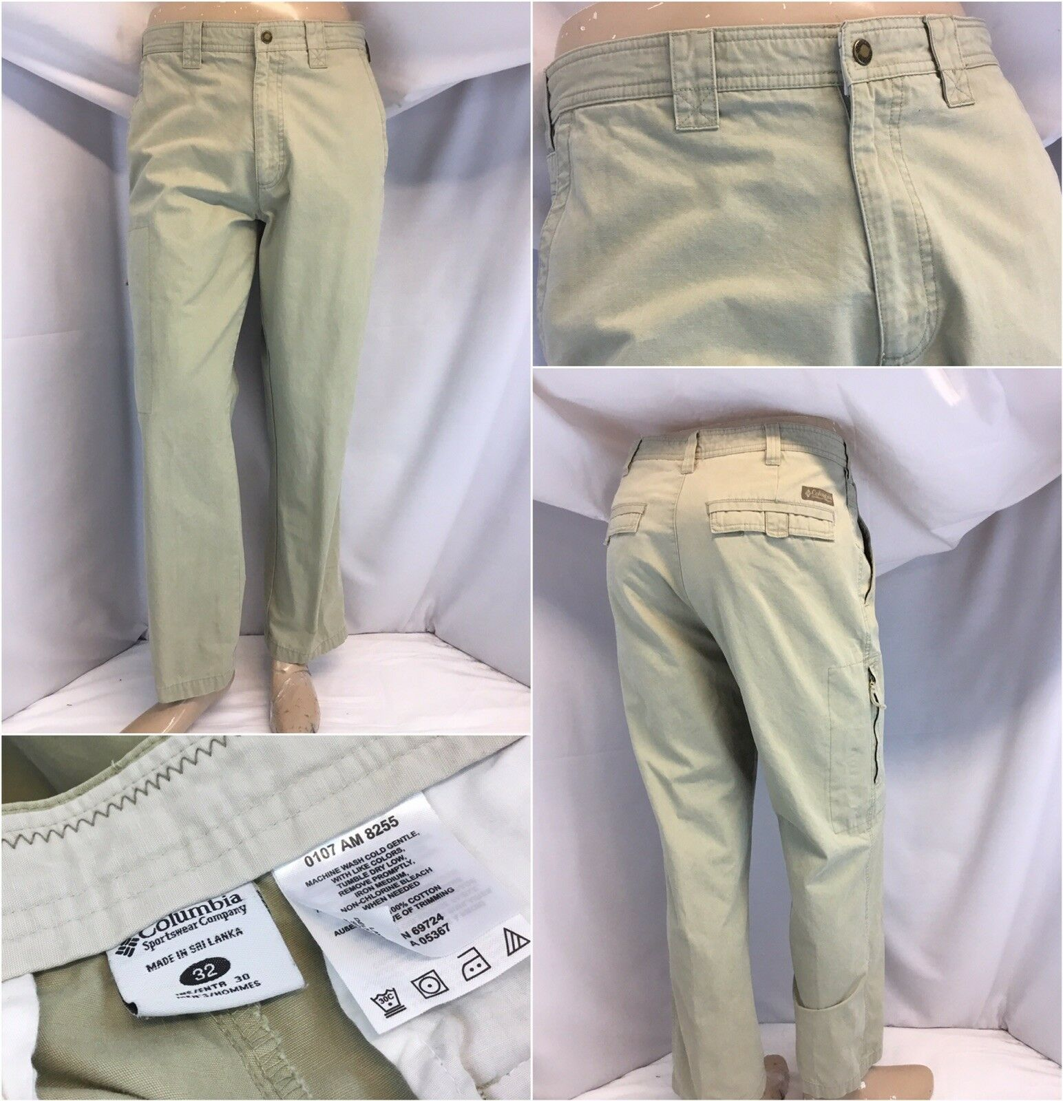 Columbia Pants 32x30 Tan 100% Cotton Flat Front Worn Once YGI L8-339