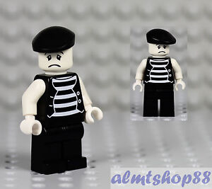 LEGO-Mime-Minifigure-034-Sad-Face-034-Clown-Circus-Actor-Minifig-Series-2-Custom