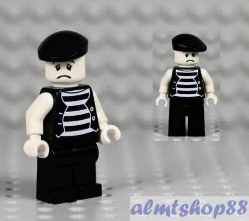 "LEGO Mime Minifigure /""Sad Face/"" Clown Circus Actor Minifig Series 2 Custom"