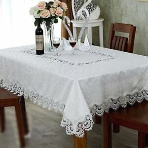 Top Quality Pure White Lace Square Coffee Tablecloth 90cm Diameter