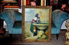 Large  Museum Quality  Antique Allegorical  Oil Painting