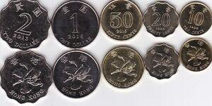 HONG KONG SET 6 COINS 10 20 50 CENTS 1 2 5 DOLLARS 1998-2017 UNC