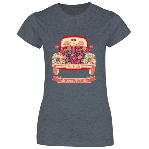 Damen T-Shirt Blumen Oldtimer Auto Retro Vintage Wagen