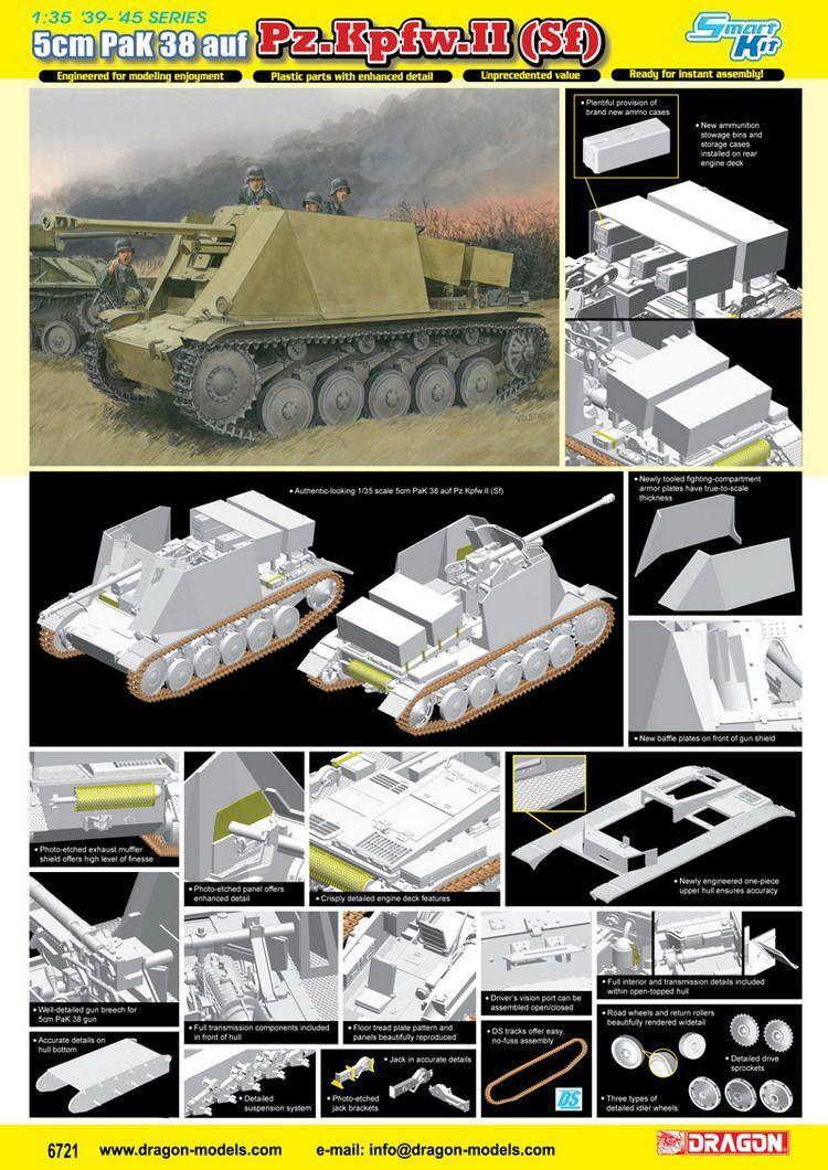Dragon 1 35 6721 5cm PaK 38 auf Pz.Kpfw.II (Sf) Model Kit