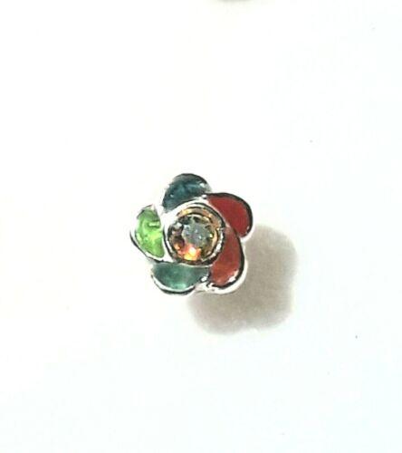 Flor De Plata Esterlina para nariz varios cristales de color Esmalte pétalos