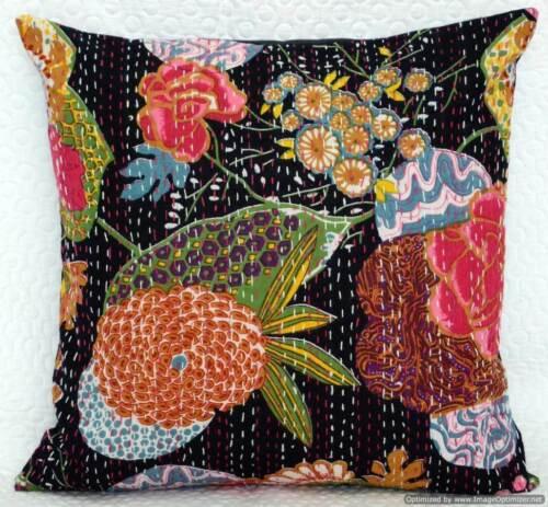 Black Handmade Boho Cotton Cushion Cover Ethnic Art Indian Bohemian Pillow Cover
