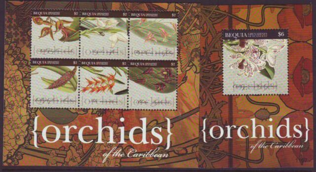 BEQUIA 2011 ORCHIDS OF THE CARIBBEAN SHEETLET 6 + MINISHEET MINT NEVERHINGED