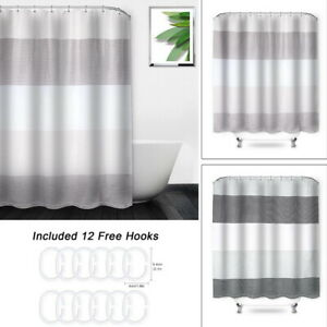 Modern-Waterproof-Striped-Polyester-Fabric-Bathroom-Shower-Curtain-With-12-Hooks