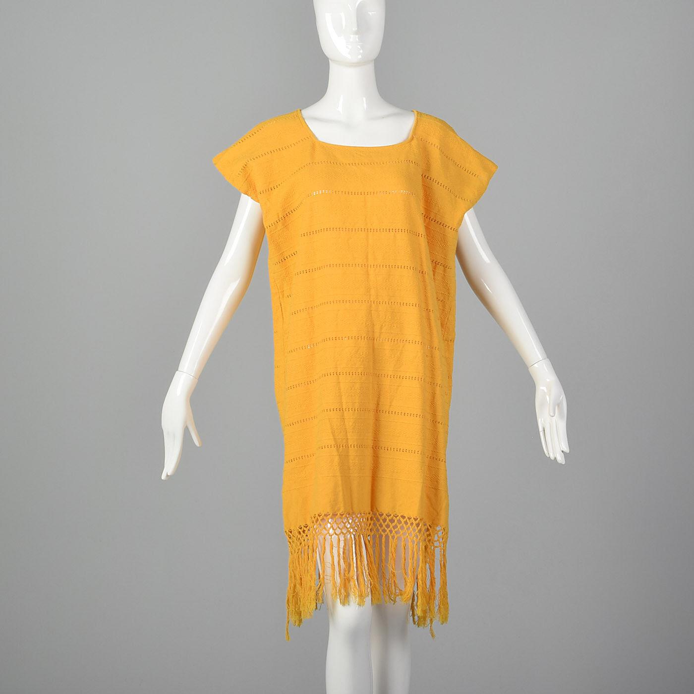 Medium Yellow Poncho 1980s Swimsuit Cover Up Summer VTG Beach Dress Sleeveless