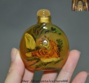 tiger glass SNUFF BOTTLE 4pc Chinese folk Inside painted Eight