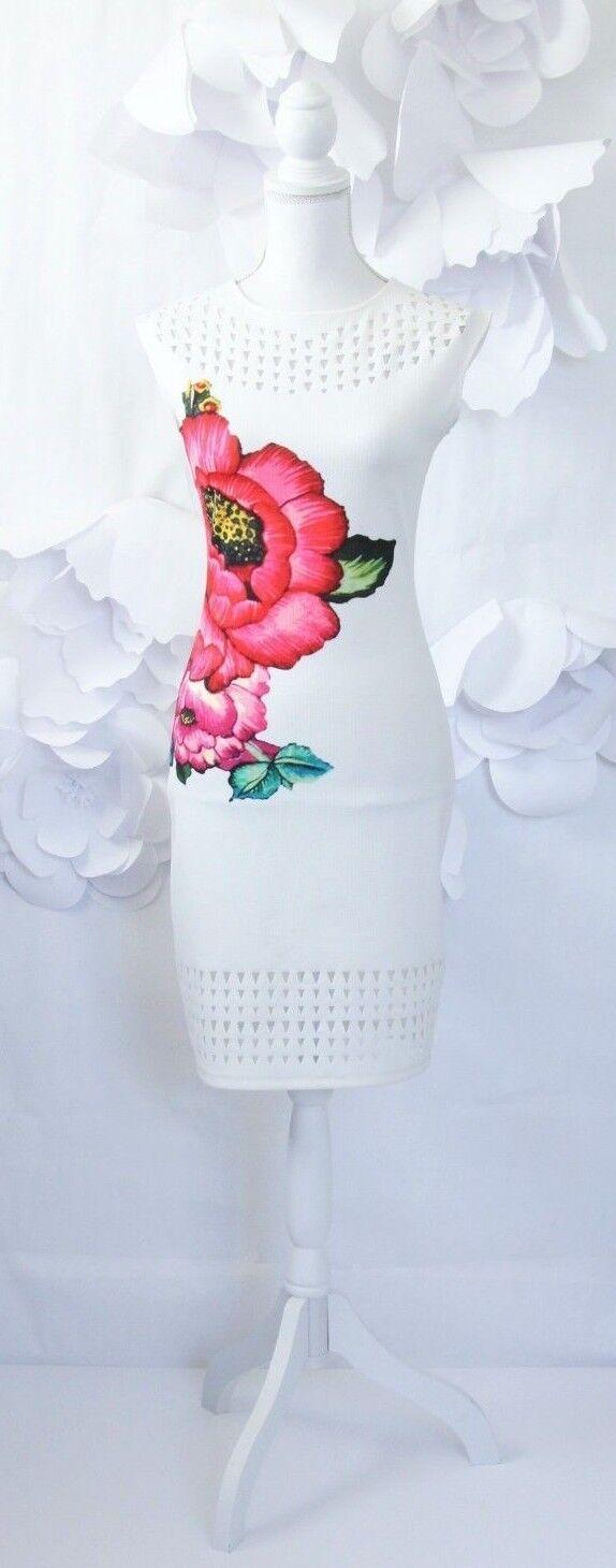 Desigual Desigual Desigual Floral Gina Lee Sheath Dress Women's S White Pink Laser Cut Sleeveless 867011