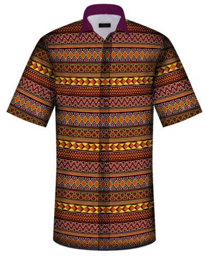 NATIVE AZTEC TRIBAL MENS HAWAIIAN DESIGN SHIRT BY OVN REGULAR SIZE /&FIT