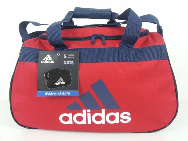 NWT Adidas Diablo Small Duffel Bag Red Navy Blue White Sport Gym Travel  Carry d7a713812eeed