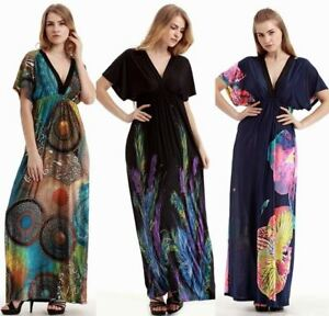 Women Kimono Sleeved Evening Gown Party Beach Hippie Long Maxi Dress