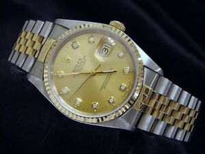Rolex-Datejust-Mens-18K-Gold-Stainless-Steel-Watch-Diamond-Dial-Champagne-16233