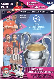 2020-21 Topps Champions League Sticker Starter Pack Supersize Album + 36 Sticker