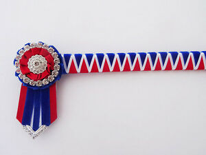 Rouge bleu et blanc Deluxe angulaire Browband-Velvet Show Browband - £ 28.49  </span>
