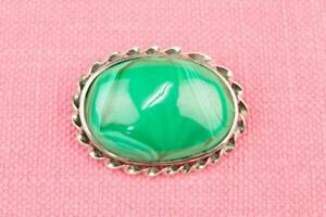 Antique-19C-Green-Agate-Large-Brooch-Cabochon-English-Victorian-Vintage-Silvered