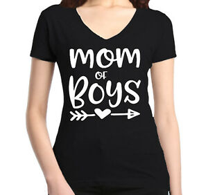 Mom-of-Boy-Women-039-s-V-Neck-T-shirt-Mother-039-s-Day-Family-Love-Mom-Gift-Tee