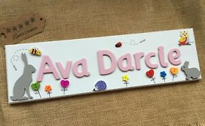 Personalised bedroom door name plaque girls room sign nursery baby image is loading personalised bedroom door name plaque girls room sign negle Image collections