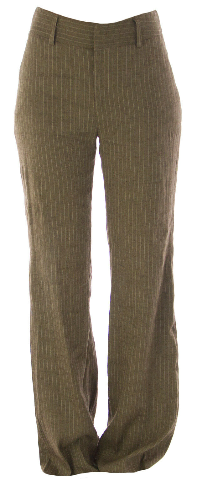 RAVEN Women's Brown Pinstriped Linen Blend Comfort Dress Pants Sz 0  NEW