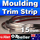 5M Car Chrome Silver 15mm Moulding Trim Strip For Window Side Door Bumper Decor