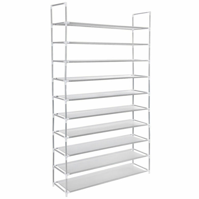 Camabel 10 Tiers Shoe Rack Shelves For 60 Pairs Shoes Non-Woven Fabric Metal