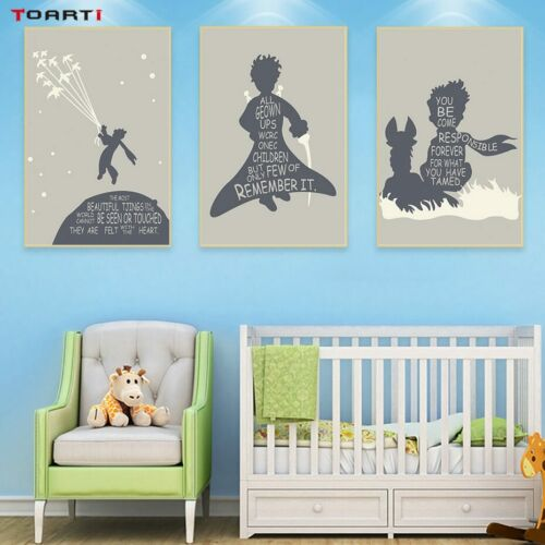The Little Prince Fox Wall Art Canvas Painting Pictures Gray Movie Quote Poster
