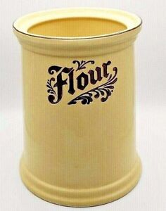 Vintage-Pfaltzgraff-Village-Stoneware-Flour-Ceramic-Canister-Crock-Tapered