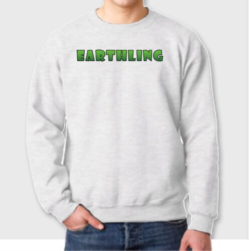 EARTHLING Outer Space UFO Funny T-shirt Science Fiction Aliens Crew Sweatshirt
