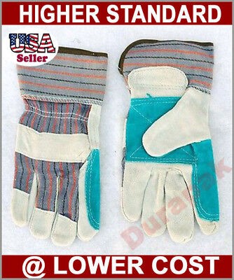 96 Pairs Split Leather Finger Reinforced  Palm Strong Work Gloves L or XL Size