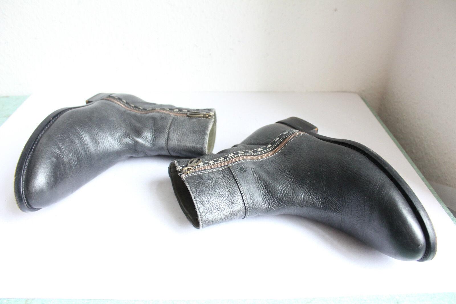LA Martina Luxus Elegante Stiefel Stiefel Stiefel Voll Echtleder Grau-schwarz Eu 40-40,5-Top- 03e196