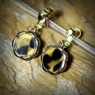 Boucles d/'Oreilles Clips Chandelier Feuille Vert Retro Vintage Joli Cadeau E8