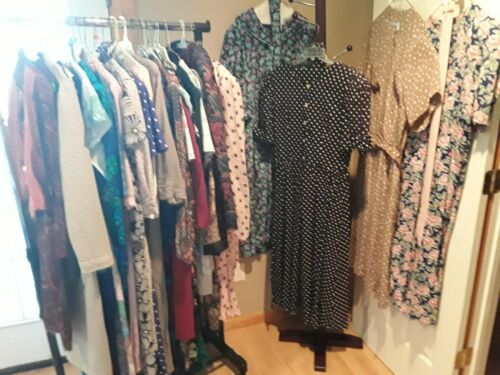 Lot of 30 Dress Lot  Vintage Womens Dresses mostly