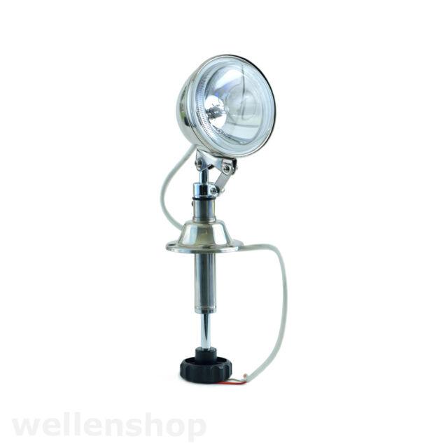 Suchscheinwerfer 55 Watt 12V Halogenscheinwerfer Edelstahl 360 Grad drehbar