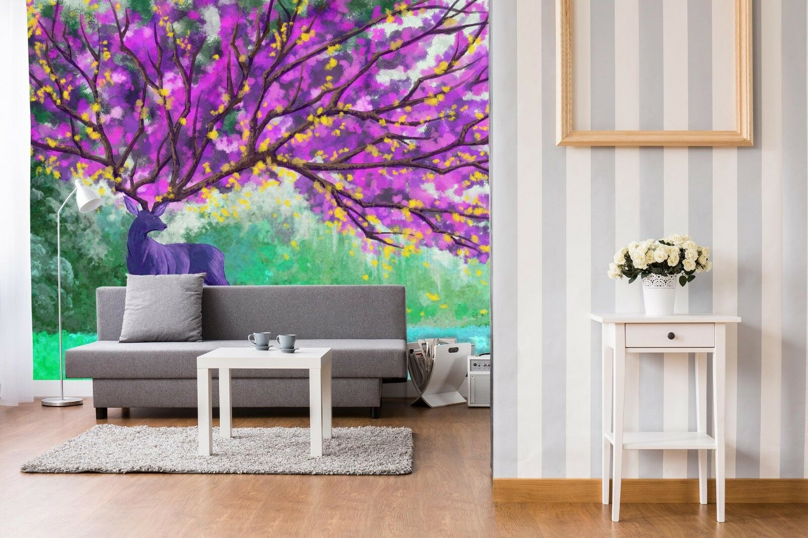 3D Purple Tree Deer 716 Wallpaper Mural Paper Wall Print Indoor Murals CA Summer