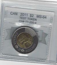 **2011**Test Token,Coin Mart Graded Canadian Toonie $2**MS-64**CH# TT-200-4