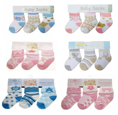 3 Pairs of Baby Socks Assorted Designs 0-3 Months Boys or Girls Blue//Pink//Cream