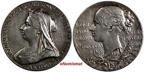 Great-Britain-Victoria-Silver-1897-Medal-Diamond-Jubilee-Toned-Eimer-1817b-750
