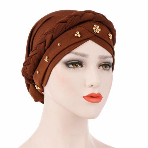 Women Braid Hijab Hat Muslim Turban Bonnet Beanie Head Scarf Wrap Chemo Cap New
