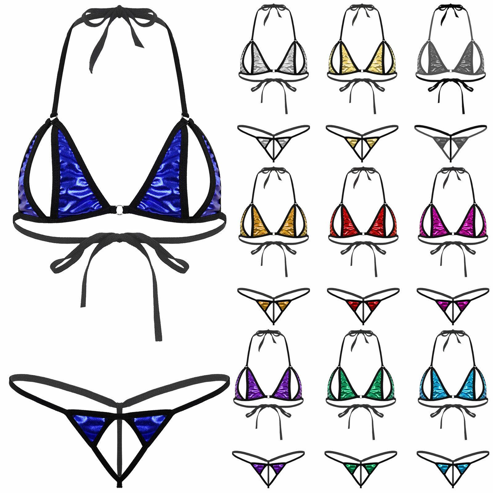 Ladies Bikini Set Lingerie Metallic Dual Stage Swimwear Bra with ouvertslip
