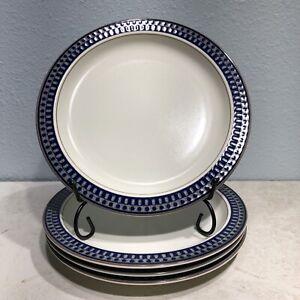 "MIKASA  Potter's Touch Aztec Blue Set Of 4 8 3/8"" Salad Plates CB009"