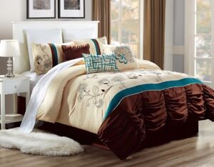 3PC-ALEX-6-BEIGE-BROWN-TEAL-FLORAL-ANTIQUE-DUVET-COMFORTER-BED-COVER-SET
