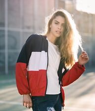 Brandy Melville red/white/blue striped Zip Up KRISSY hoodie JACKET OS