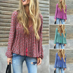 Plus-Women-Loose-Blouse-Long-Sleeve-V-Neck-Print-Top-Ruched-T-Shirt-Tunic-S-5XL